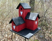 Primitive Country Condo Birdhouse,  Red and Black Three Nesting Boxes Bird White Painted Rusty Heart  Country Birdhouse Functional Birdhouse