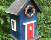 Blue Birdhouse Red Door Grapevine Wreath Metal Star Black Roof and Base Bottom Removes for Clean out