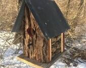 Wooden Unique Birdhouse Poplar Tree Bark Cabin Old Barn Metal Roof Rustic Outdoors Outdoor Bird House, Handmade Birdhouse