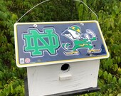 Notre Dame Football License Plate Birdhouse White Fully Functional