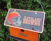 Cleveland Browns Vanity Plate  Football  Birdhouse Fully Functional Birdhouse  Unique, wooden, Reycled Birdhouse Garden decor