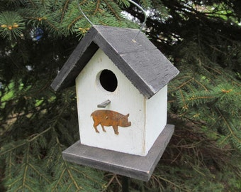 Wooden Rustic Primitive Birdhouse White Black Roof and Base with Rusty Pig Hanging Handmade Birdhouse