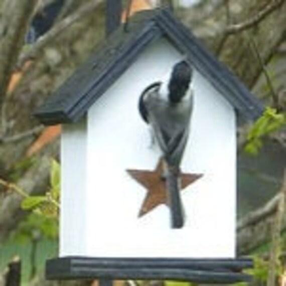 Wooden Rustic Chickadee Wren Songbird White Black Primitive Birdhouse Rusty Star Handmade Hanging Birdhouse