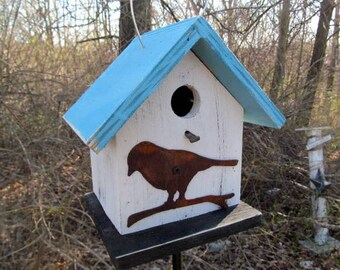 Birdhouse Functional Primitive White Blue Rusty Bird Cutout