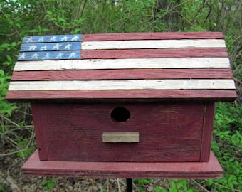 American Flag Wood Birdhouse,  Hand Painted Stars and Stripes Vintage Patriotic Birdhouse, Wooden Bird House, Hanging Birdhouse, Handmade.