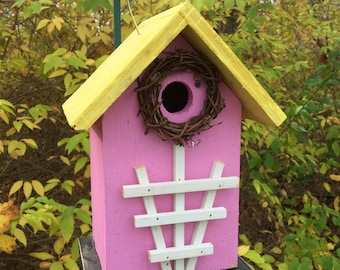 Pink Yellow Primitive Birdhouse White Trellis Country Charm