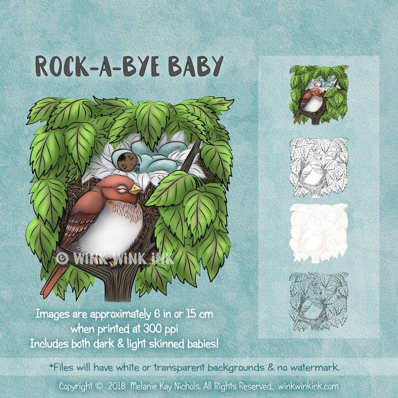 Digital Stamp  Rock-a-bye Baby  Sweet baby in image 0