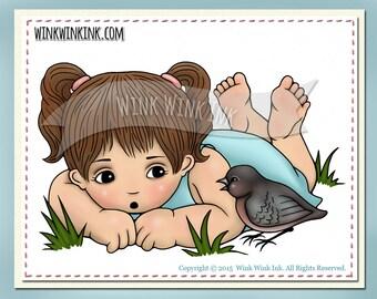 Digital stamp - Little Bird - telling secrets - printable image -  digi stamp