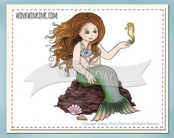 Digital Stamp - Little Mermaid - with seahorse- printable image - digistamp