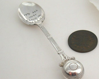 Rude Coffeespoon, Bowling Ball Spoon, Hand Stamped Handstamped Vintage Flatware