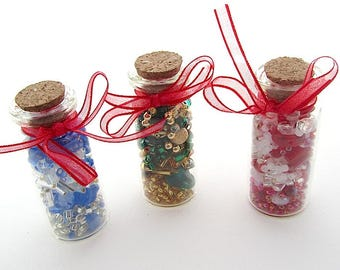 Three Bottles of Beads, Loose Bead Assortments in Reusable Glass Vials with Corks, Red, Blue, Green, Jewellery Making