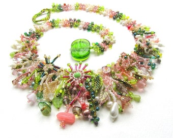 MADE TO ORDER Jungle Collar, Lime Green and Pink Floral Statement Necklace