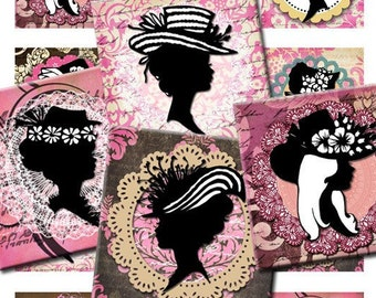 Digital Download Collage Sheet Vintage Victorian Ladies Hats Silhouette Cameos 2 X 2 inch Squares Necklace Pendants Keychains Stickers No.30