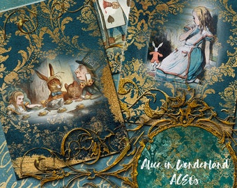 Digital Download Alice in Wonderland ACEOs ATCs Commercial Use Damask Gold and Teal Instant Download No. 71