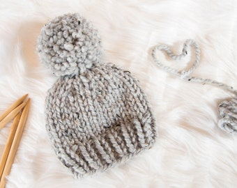Baby Knit Hat   Child Chunky Beanie   Knit Baby Hat Pom Pom   Toddler Knit  Baby Hat   Knit Child Hat 08221045328