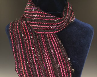 Licorice and Bubble Gum Scarf, Handwoven