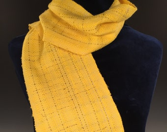 Hyacinth and Gold Twill Scarf, Handwoven