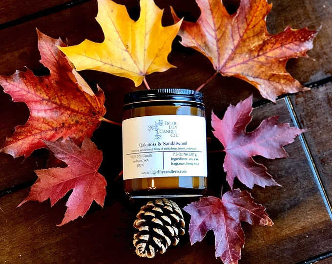 Oakmoss & Sandalwood 100% Soy Candle | Masculine Fragrance Candle | Hand Poured 7.3 oz. in Amber Glass Container | Host Gift