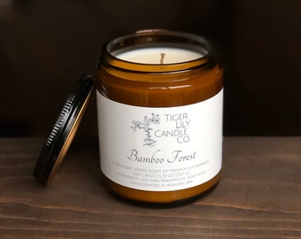 Bamboo Forest 100% Soy Candle | Hand Poured Candle | 7.3 oz. in Amber Glass Container | Housewarming Gift