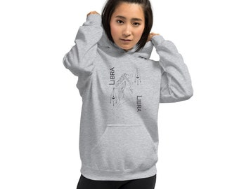 Gray Libra Unisex Hoodie | Zodiac Libra Hoodie | Libra Gifts | Grunge Clothing | Feminist Hoodie | Divine Feminine Goddess
