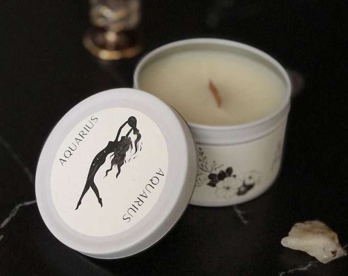 Aquarius Zodiac Candle | Feminine Art | Wooden Wick Luxury Scented Candle | Natural Fragrance | Boho Home Decor | Cottagecore Aesthetic