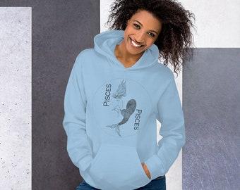 Light Blue Pisces Unisex Hoodie | Mermaid Pisces Hoodie | Pisces Gifts | Grunge Clothing | Feminist Hoodie | Divine Feminine Goddess