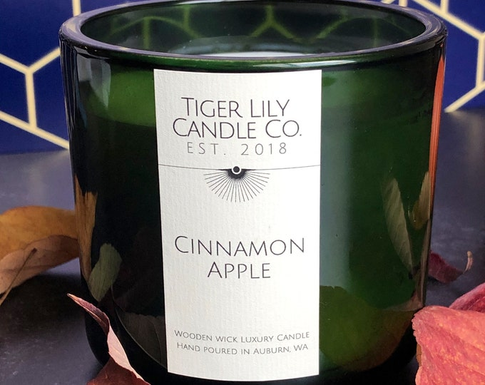 Cinnamon Apple Scented Candle | Wooden Wick Luxury Candle | Boho Home Decor | Falloween | Holiday Candle