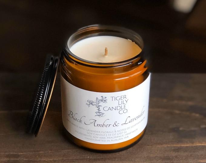 Black Amber & Lavender Shop 100% Soy Candle | Scented Candle | Amber Jar | Hemp Wick 7.3 oz | Host Gift