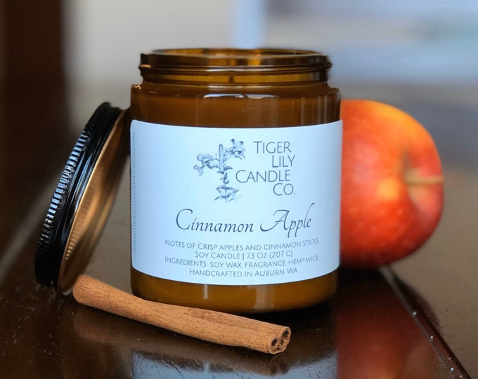Cinnamon Apple 100% Soy Candle | Scented Candle | Amber Jar | Hemp Wick 7.3 oz