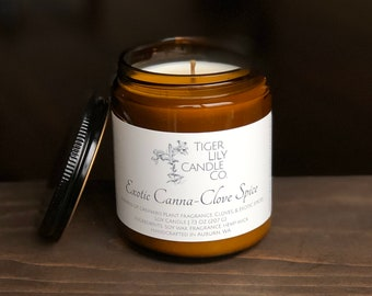 Exotic Canna-Clove Spice 100% Soy Candle | Hand Poured Candle With Hemp Wick | 7.25 oz. in Amber Glass Container | Housewarming Gift