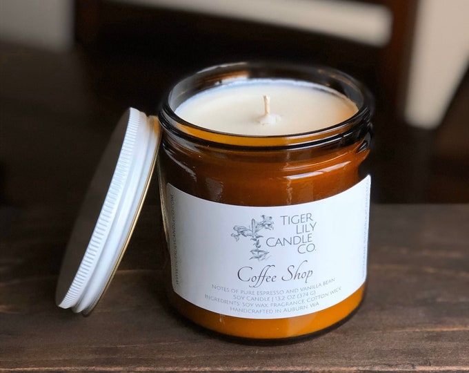 Coffee Shop 100% Soy Candle | Vanilla Bean Coffee Scented Candle | Large Amber Jar | Cotton Wick 13.2 oz