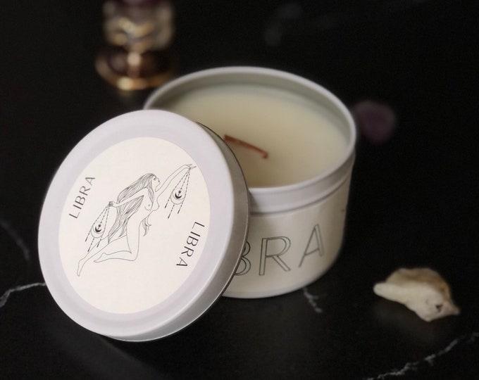 Libra Zodiac Candle | Feminine Art | Wooden Wick Luxury Scented Candle | Natural Fragrance | Boho Home Decor | Cottagecore Aesthetic