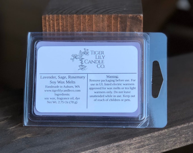 Lavender Sage Rosemary 100% Soy Melts | Hand Poured 2.75 oz. Clamshell Melts