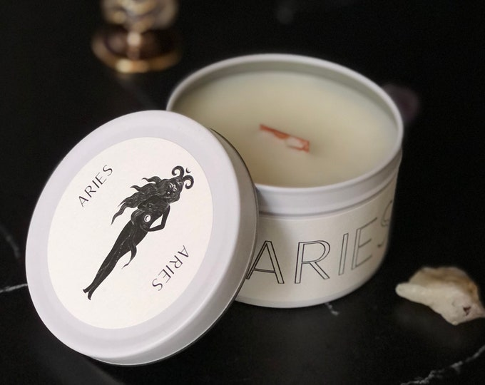 Aries Zodiac Candle | Feminine Art | Wooden Wick Luxury Scented Candle | Natural Fragrance | Boho Home Decor | Cottagecore Aesthetic