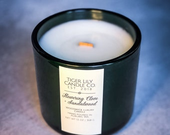 Flowering Clove + Sandalwood Scented Candle | Wooden Wick Luxury Candle | Natural Fragrance | Boho Home Decor