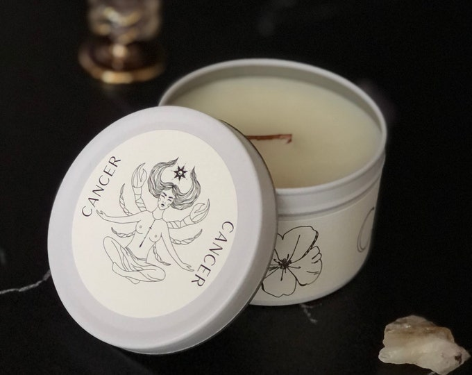 Cancer Zodiac Candle | Feminine Art | Wooden Wick Luxury Scented Candle | Natural Fragrance | Boho Home Decor | Cottagecore Aesthetic