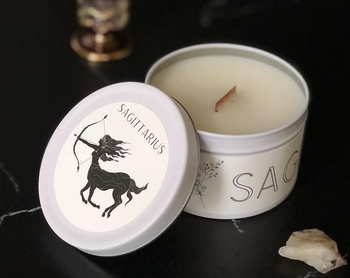 Sagittarius Zodiac Candle | Feminine Art | Wooden Wick Luxury Scented Candle | Natural Fragrance | Boho Home Decor | Cottagecore Aesthetic
