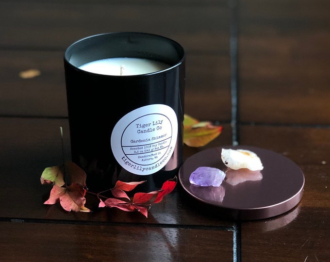Gardenia Shimmer 100% Shimmering Soy Candle, Hand Poured, Long-burning, 8.5 oz. in Black Glass Container With Copper Lid