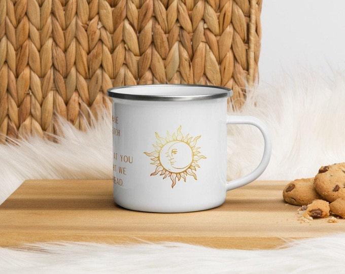 "Sun and Moon ""Resting Bitch Face"" Enamel Mug 12 oz. Camping Coffee Cup | 90s Aesthetic | Coffee Mug | Boho Home Decor"