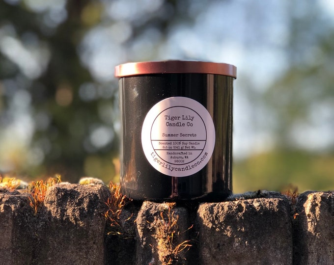 Jasmine & Sandalwood 100% Shimmering Soy Candle, Hand Poured, Long-burning, 8.5 oz. in Black Glass Container With Copper Lid