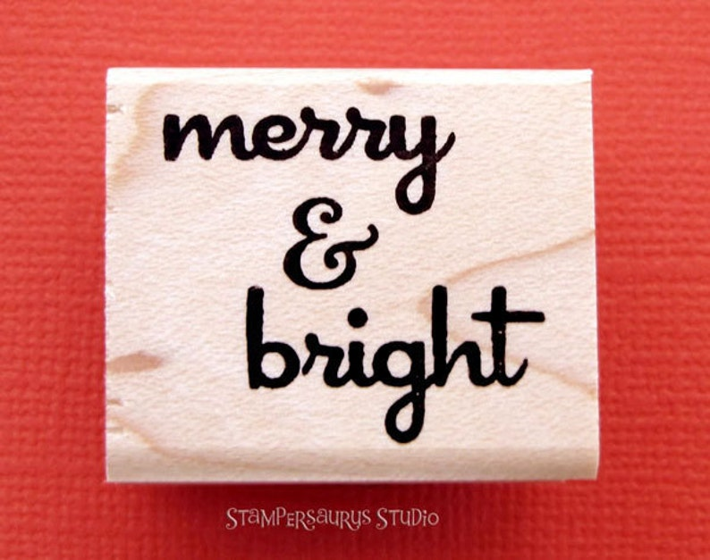Merry & Bright rubber stamp image 0