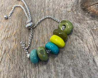 Teal Green Lampwork Glass Bracelet with Stainless Steel Chain