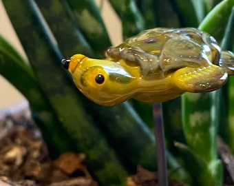 Little Green Turtle Lampwork Glass Indoor Plant Stake, miniature fairy garden sculptures for plant, Green Tortoise