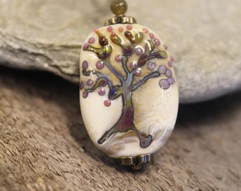 Lampwork Glass Pendant with Copper Accents, Double sides Tree of life  and Cat Necklace