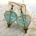 Heart earrings Valentine Jewelry Victorian jewelry gift for her Aqua earrings