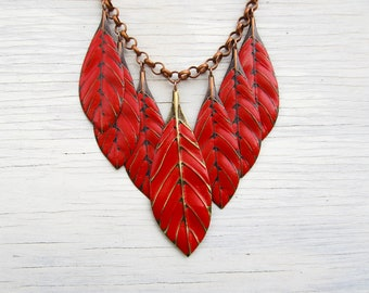 Red Graduated Bib Necklace With Gold Chain