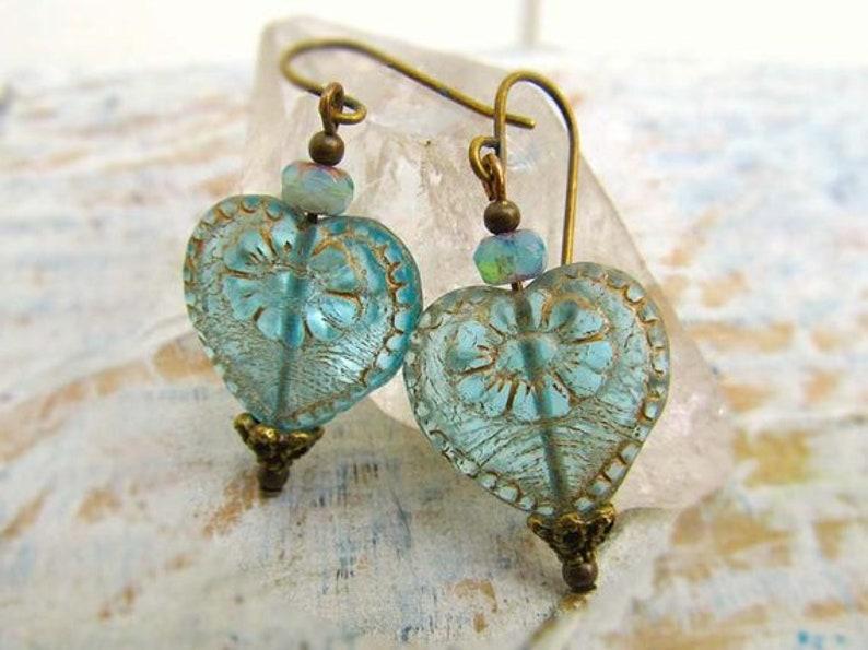 Heart earrings Victorian jewelry gift for Mom Aqua earrings image 0