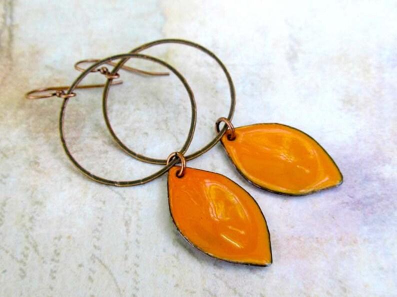 Copper Jewelry Big Earrings orange earrings Copper Hoop with image 0