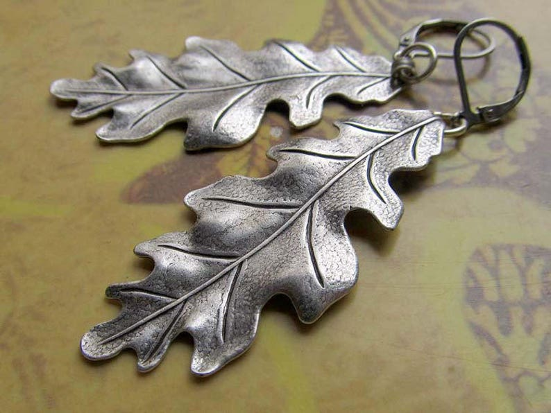 long earrings Leaf earrings  silver Oak leaf earrings drop image 0