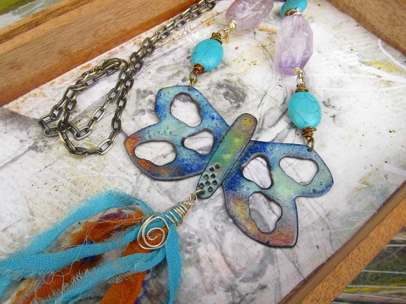 Big Butterfly Necklace Long Hippie Necklace Tassel Necklace image 0